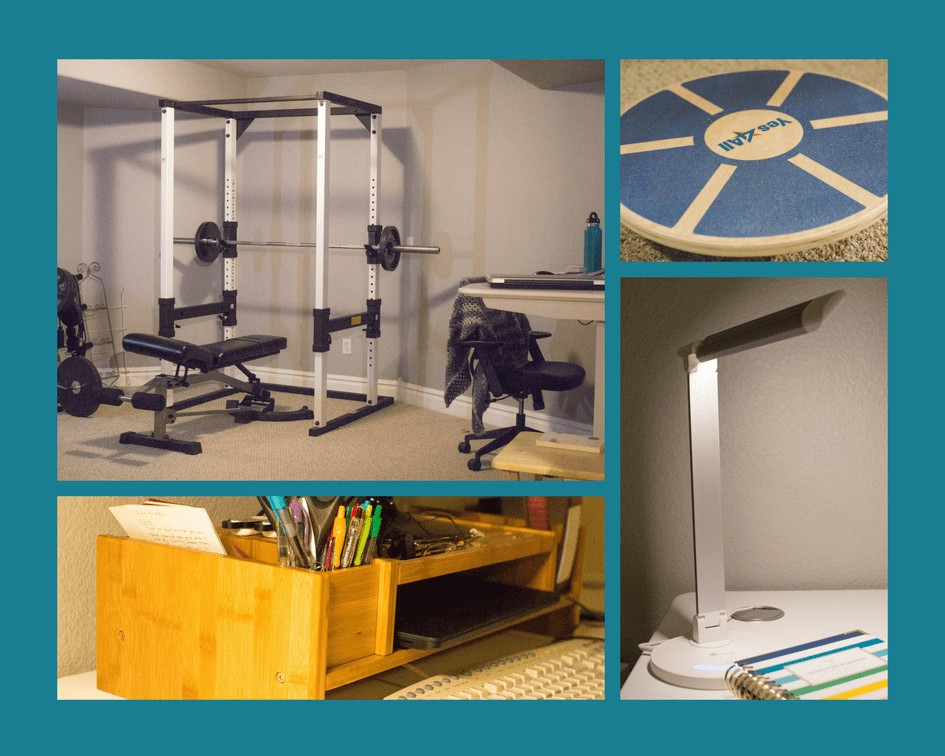 Active office with gym equipment, wobble board, LED lamp, and monitor stand.