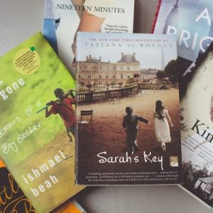 Photo of Sarah's Key, A Long Way Gone, Kindred, As Bright As Heaven, Nineteen Minutes; tragedy books for readers.