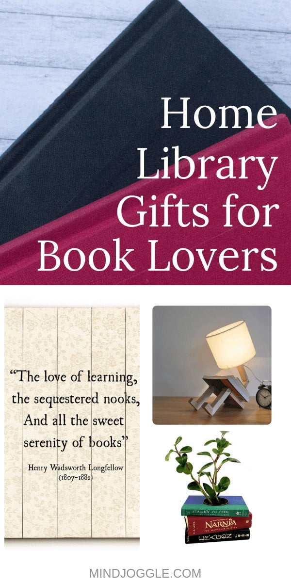 Home Library Gifts for Book Lovers. Home decor and products for readers with a home library.