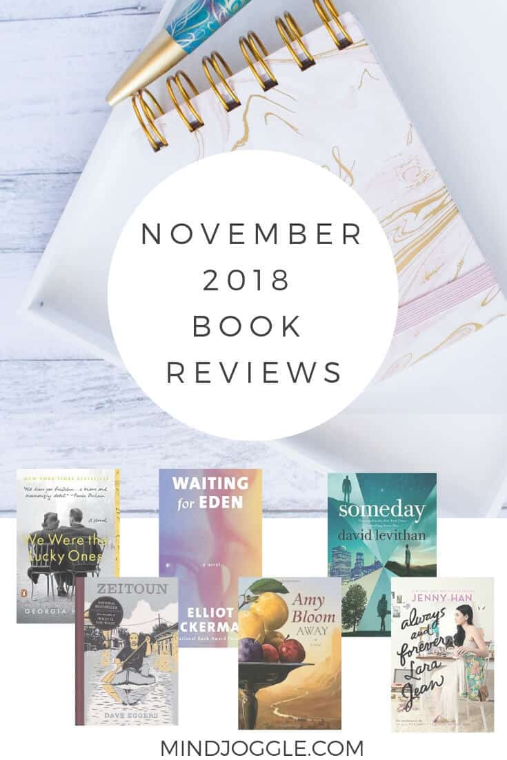 November 2018 book reviews, including We Were the Lucky Ones, Waiting for Eden, Someday, Away, Zeitoun, and Always and Forever, Lara Jean.