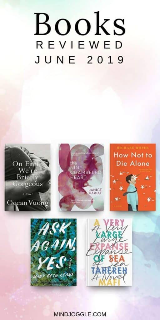 June 2019 book reviews, including On Earth We're Briefly Gorgeous, The Nine-Chambered Heart, How Not to Die Alone, Ask Again Yes, and A Very Large Expanse of Sea