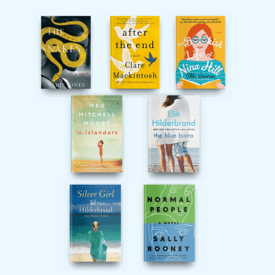 Book covers of The Snakes, After the End, The Bookish Life of Nina Hill, The Islanders, The Blue Bistro, Silver Girl, and Normal People