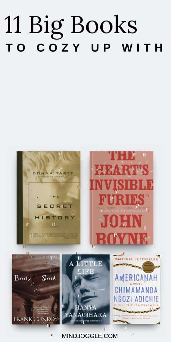 11 Big Books to Cozy Up With. Covers of long books, including The Secret History, The Heart's Invisible Furies, Body and Soul, A Little Life, and Americanah.