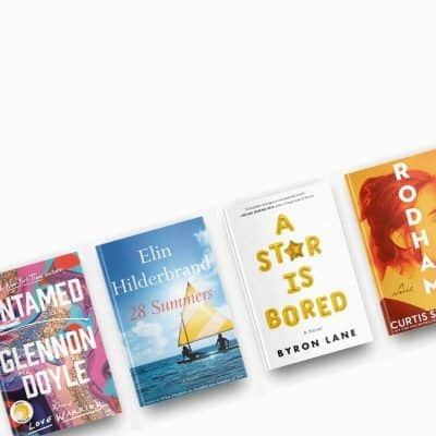 August 2020 book reviews. Covers of Untamed, 28 Summers, A Star is Bored, and Rodham