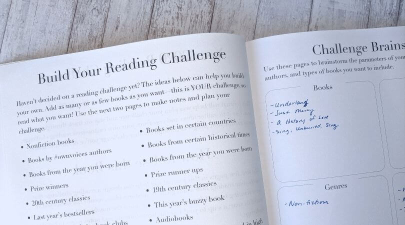Reading challenge planning pages in a reading journal