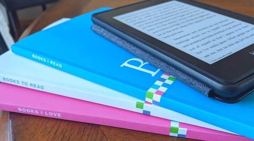 Book journals and a Kindle e-reader