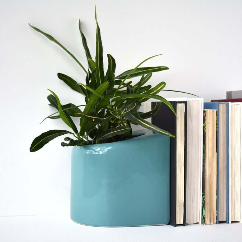 Blue planter bookend, a great present for readers