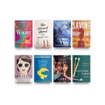 Book covers of September 2020 reviewed books Want, The Second Home, Running from Moloka'i, Saving Ruby King, Majesty, Exciting Times, Clap When You Land, and Fighting Words.