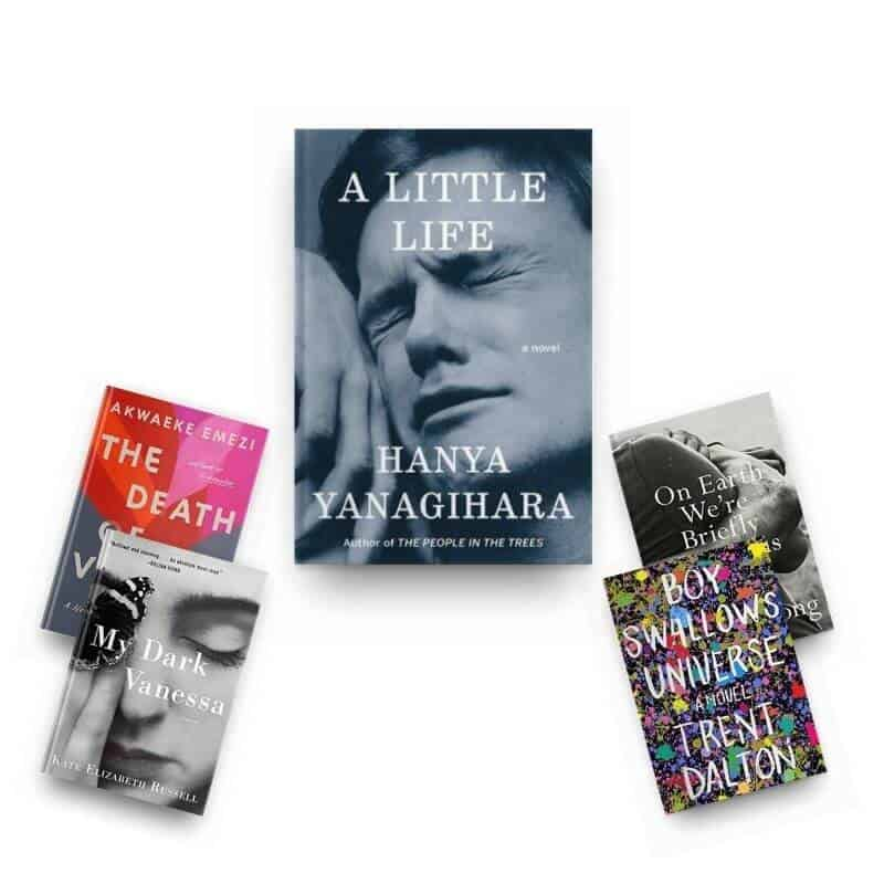 Books like A Little Life. Covers of A Little Life, The Death of Vivek Oji, My Dark Vanessa, On Earth We're Briefly Gorgeous, and Boy Swallows Universe