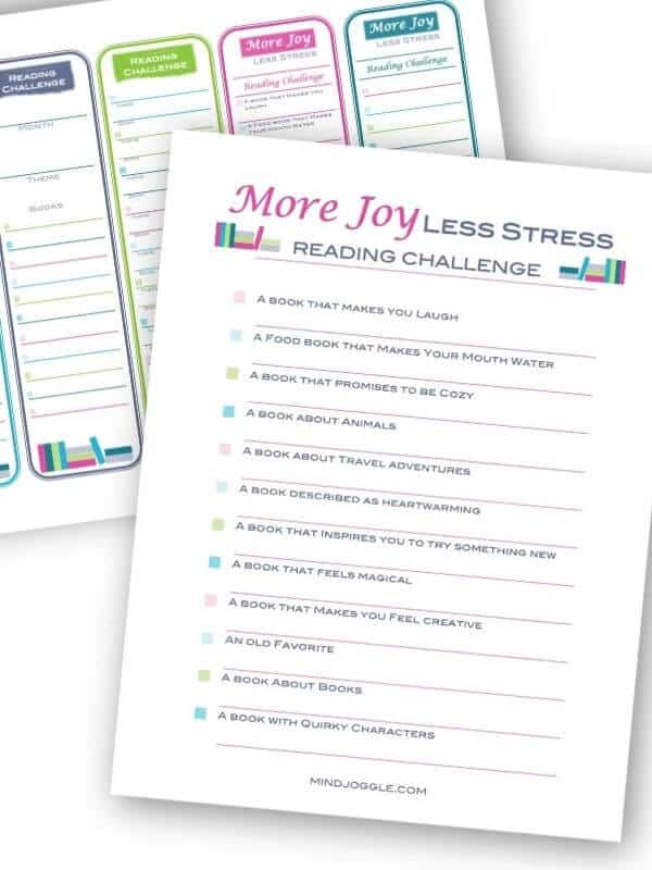 More Joy, Less Stress Reading Challenge checklist and bookmarks