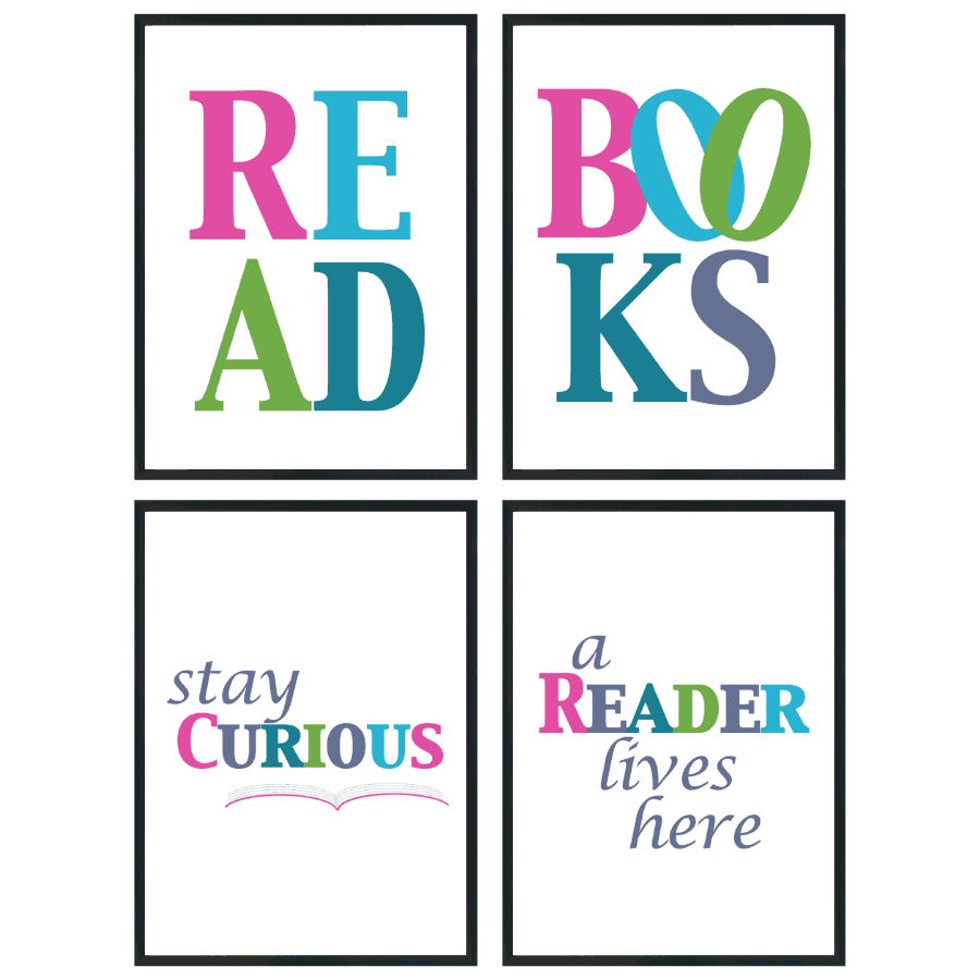 Read, Books, Stay Curious, A Reader Lives Here jewel colored wall art