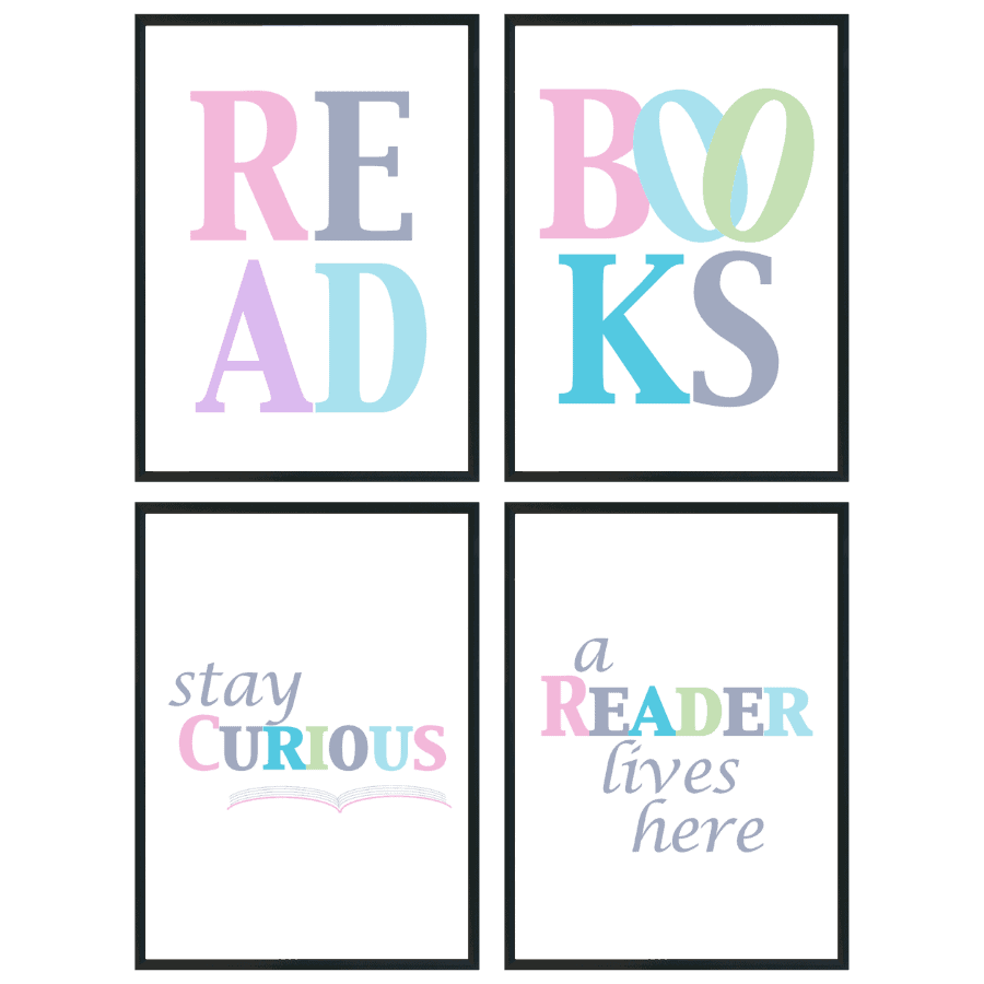 Read, Books, Stay Curious, A Reader Lives Here pastel wall art