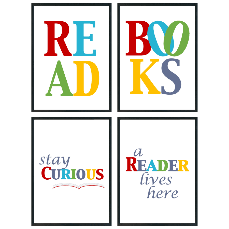 Read, Books, Stay Curious, A Reader Lives Here wall art