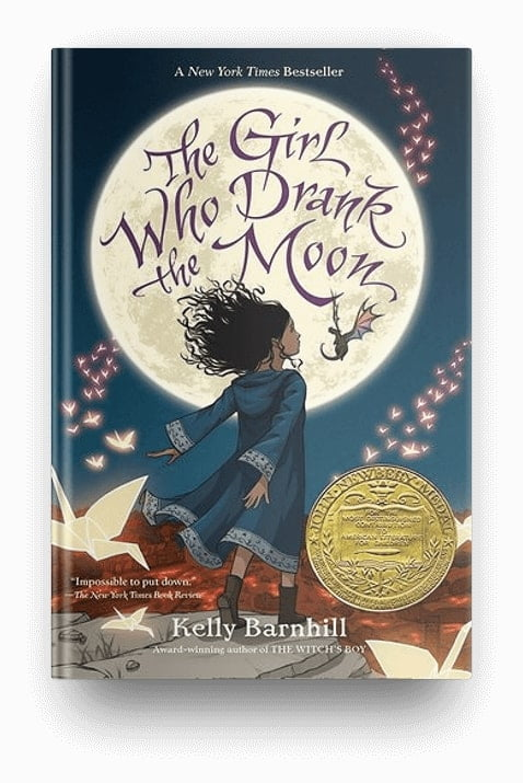 The Girl Who Drank the Moon by Kelly Barnhill, a mystical fantasy book for kids