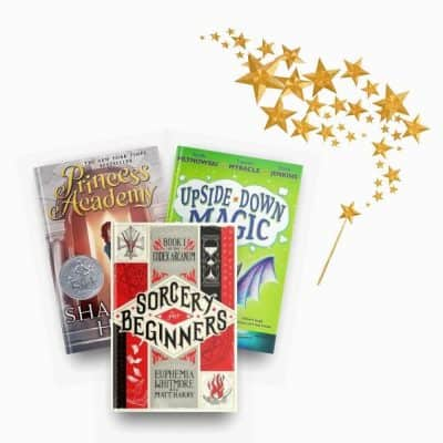Magical fantasy kids' books, including Princess Academy, Sorcery for Beginners, and Upside Down Magic